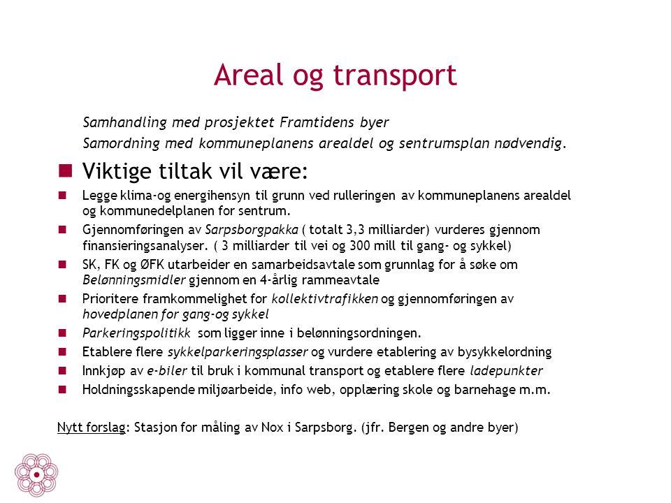 Areal og transport Viktige tiltak vil være: