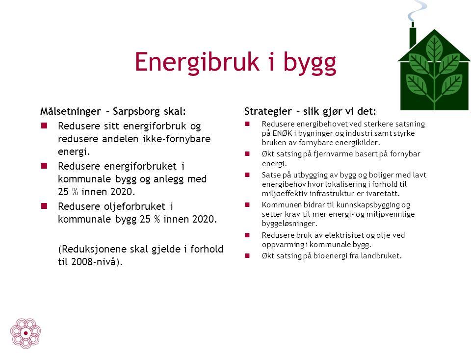Energibruk i bygg Målsetninger – Sarpsborg skal: