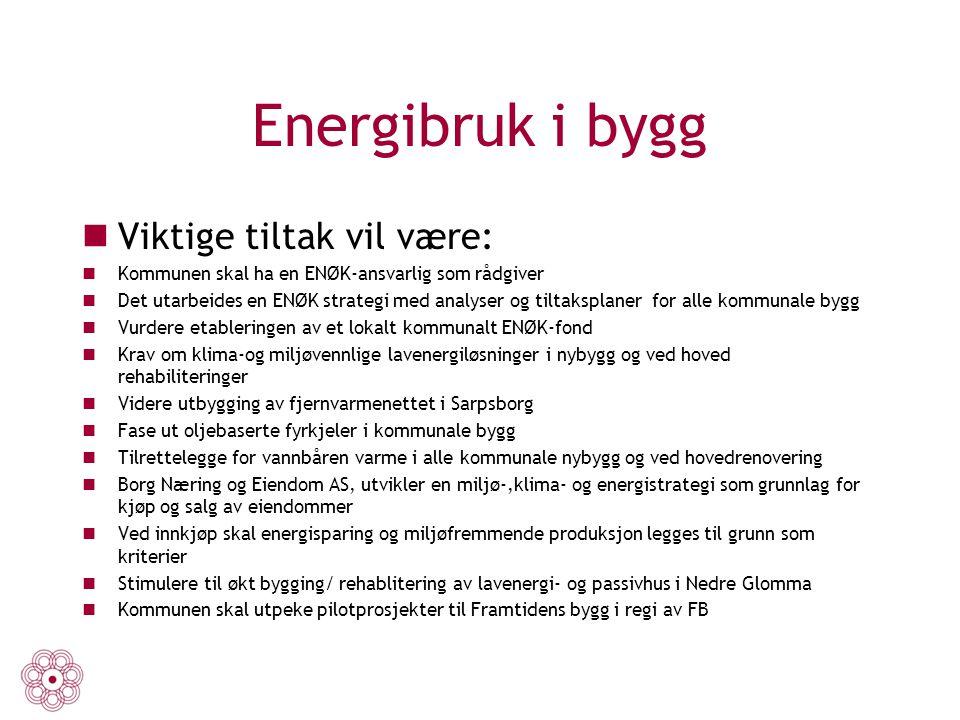 Energibruk i bygg Viktige tiltak vil være:
