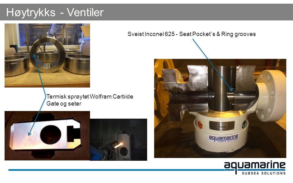 Høytrykks - Ventiler Sveist Inconel 625 - Seat Pocket`s & Ring grooves