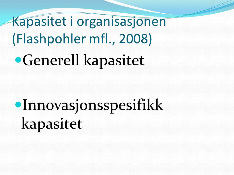 Kapasitet i organisasjonen (Flashpohler mfl., 2008)