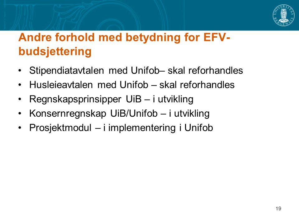 Andre forhold med betydning for EFV-budsjettering