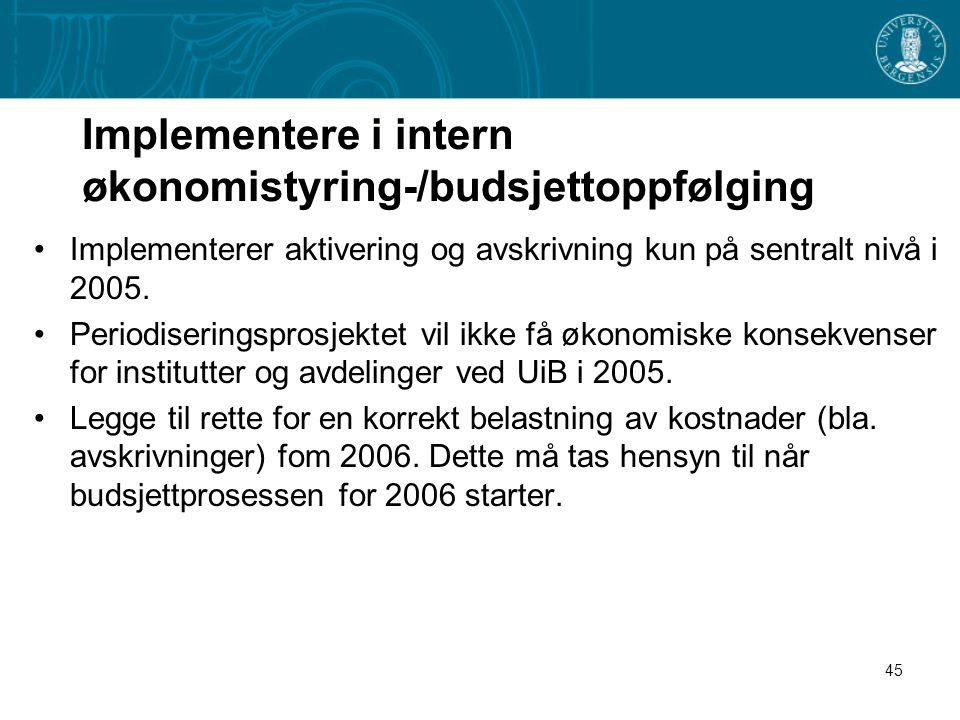 Implementere i intern økonomistyring-/budsjettoppfølging