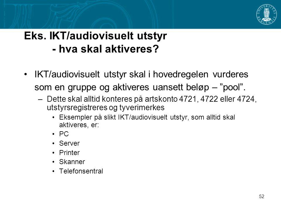 Eks. IKT/audiovisuelt utstyr - hva skal aktiveres