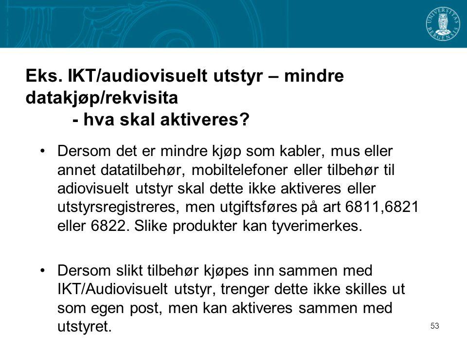Eks. IKT/audiovisuelt utstyr – mindre datakjøp/rekvisita