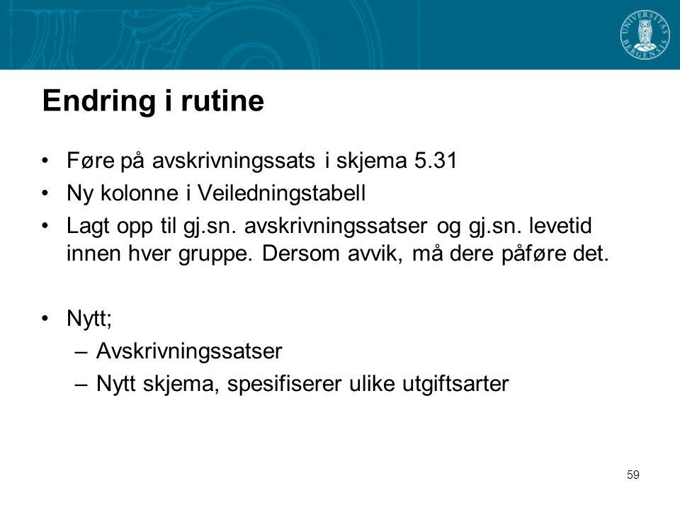 Endring i rutine Føre på avskrivningssats i skjema 5.31