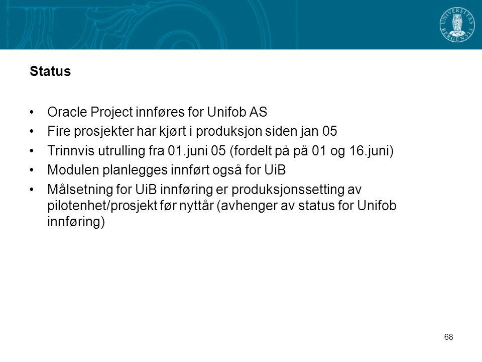 Status Oracle Project innføres for Unifob AS. Fire prosjekter har kjørt i produksjon siden jan 05.