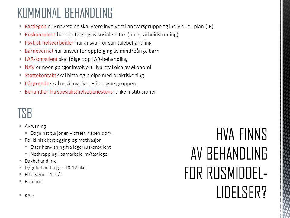 HVA FINNS AV BEHANDLING FOR RUSMIDDEL- LIDELSER