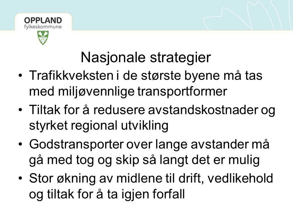 Nasjonale strategier Trafikkveksten i de største byene må tas med miljøvennlige transportformer.