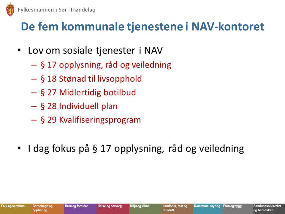 De fem kommunale tjenestene i NAV-kontoret