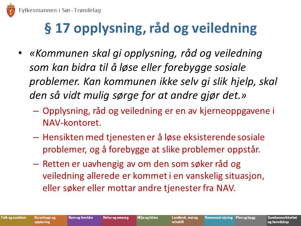 § 17 opplysning, råd og veiledning
