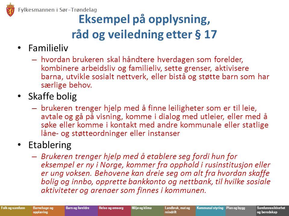 Eksempel på opplysning, råd og veiledning etter § 17