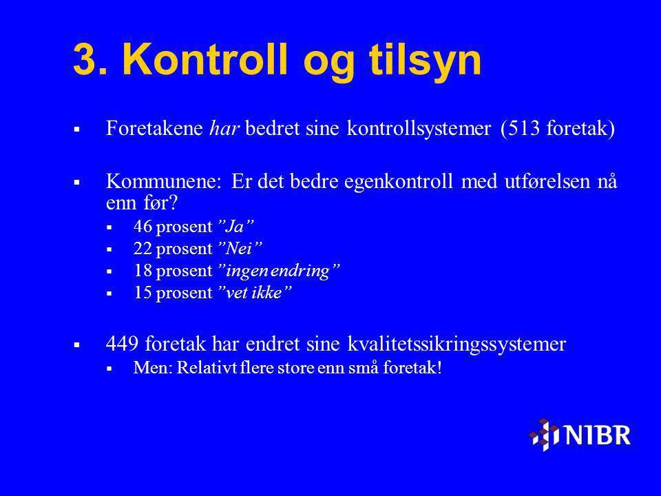 3. Kontroll og tilsyn Foretakene har bedret sine kontrollsystemer (513 foretak) Kommunene: Er det bedre egenkontroll med utførelsen nå enn før