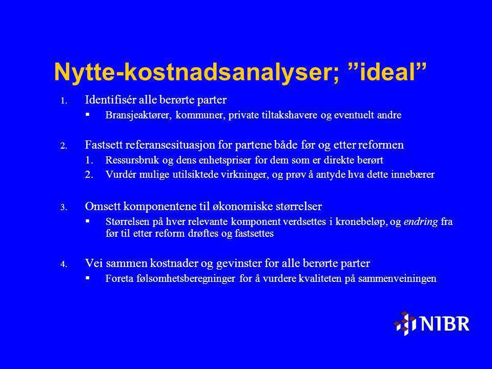 Nytte-kostnadsanalyser; ideal