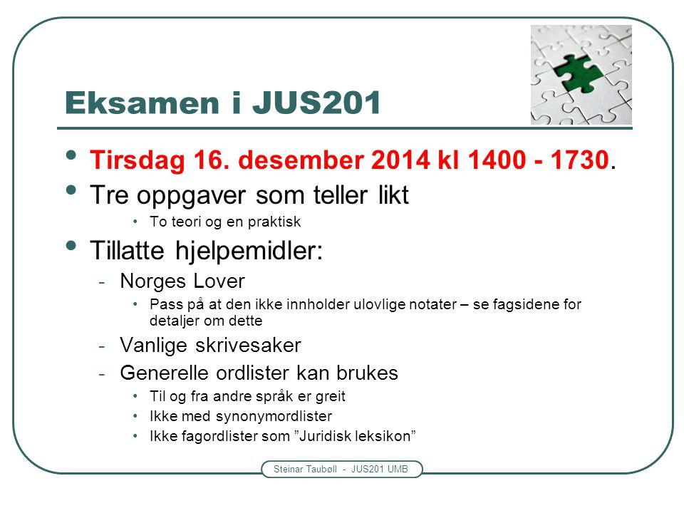 Eksamen i JUS201 Tirsdag 16. desember 2014 kl 1400 - 1730.
