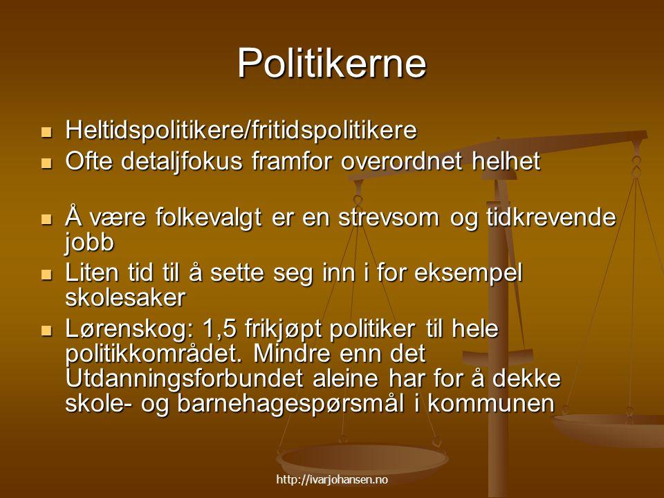 Politikerne Heltidspolitikere/fritidspolitikere
