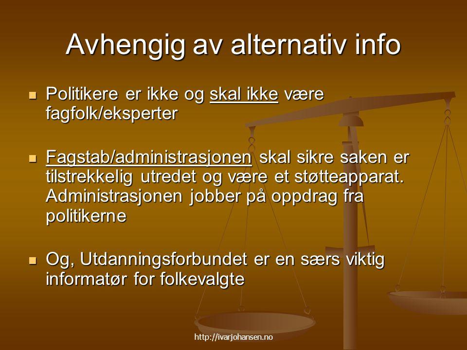 Avhengig av alternativ info