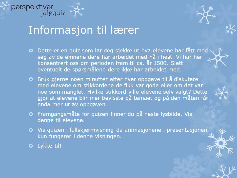 Informasjon til lærer