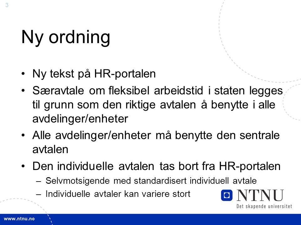 Ny ordning Ny tekst på HR-portalen