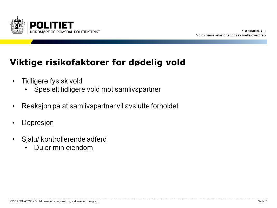 Viktige risikofaktorer for dødelig vold