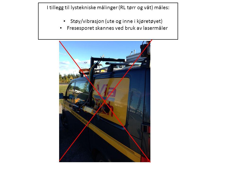 I tillegg til lystekniske målinger (RL tørr og våt) måles: