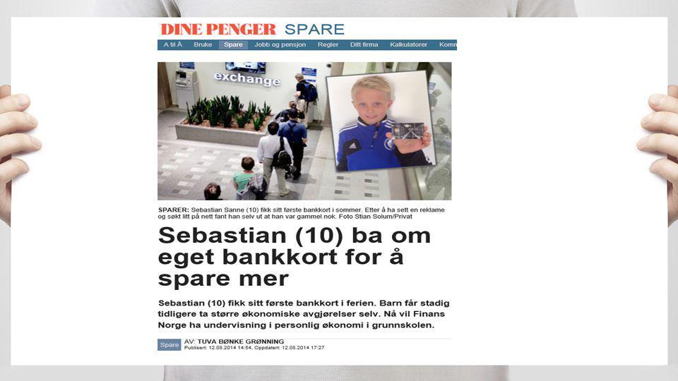 Som nevnt - 25 000 barn har vært innom kortlappen og en av disse er Sebastian på 10 år . Denne artikkelen stod i Dine Penger forrige uke .