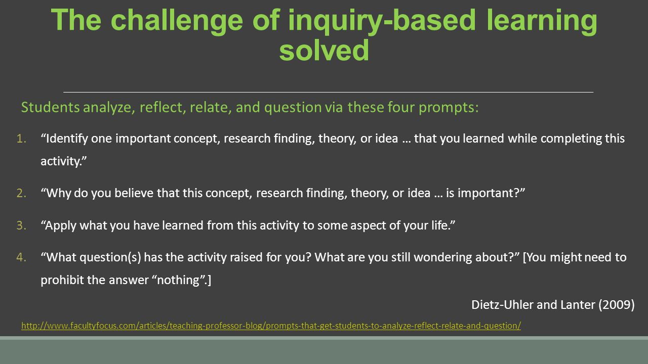 The challenge of inquiry-based learning solved