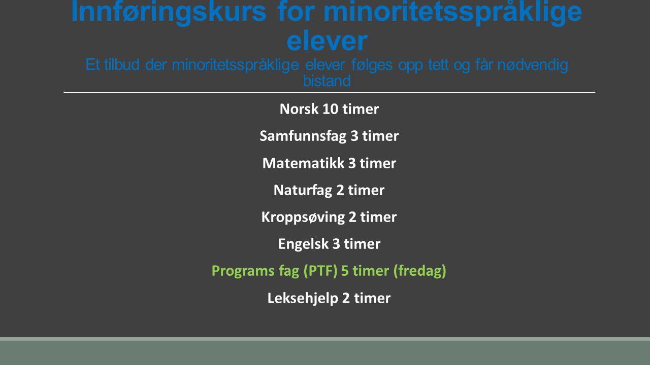 Programs fag (PTF) 5 timer (fredag)