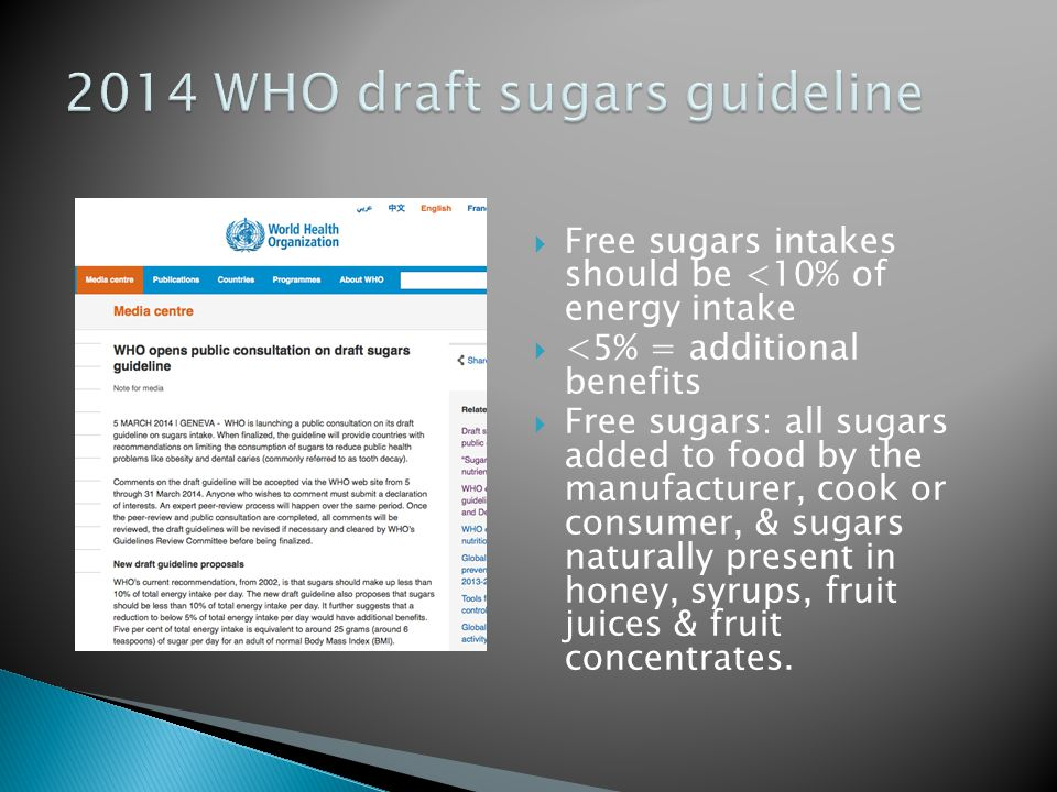 2014 WHO draft sugars guideline