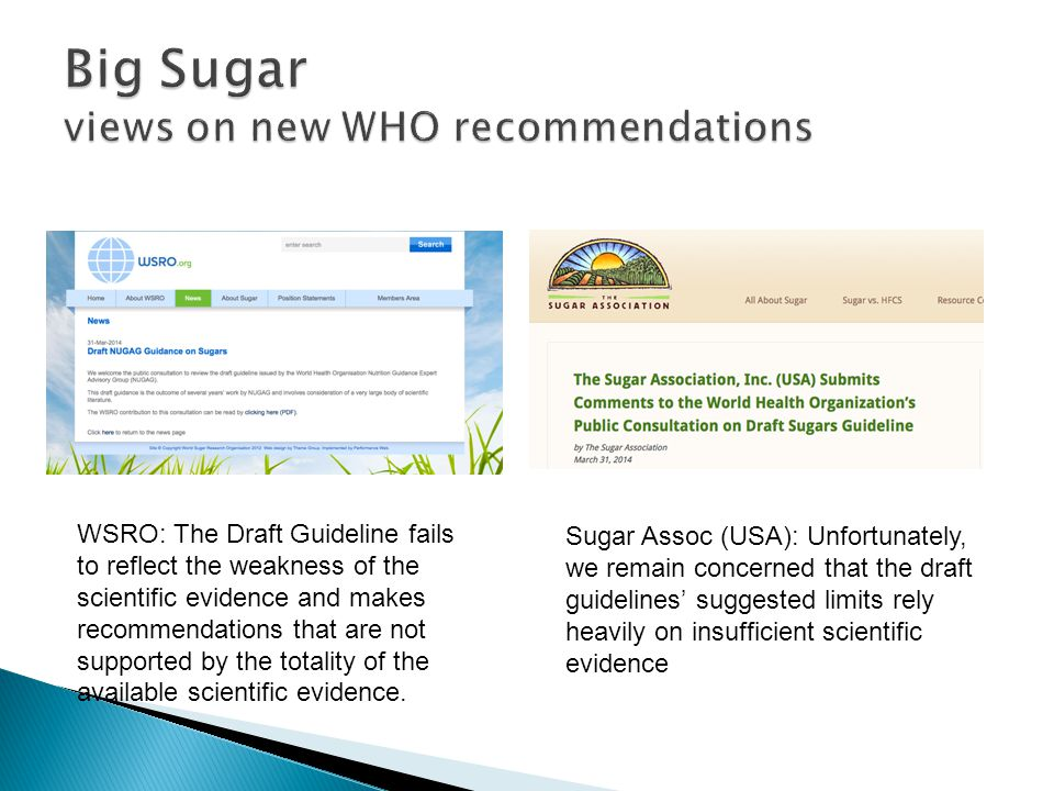 Big Sugar views on new WHO recommendations