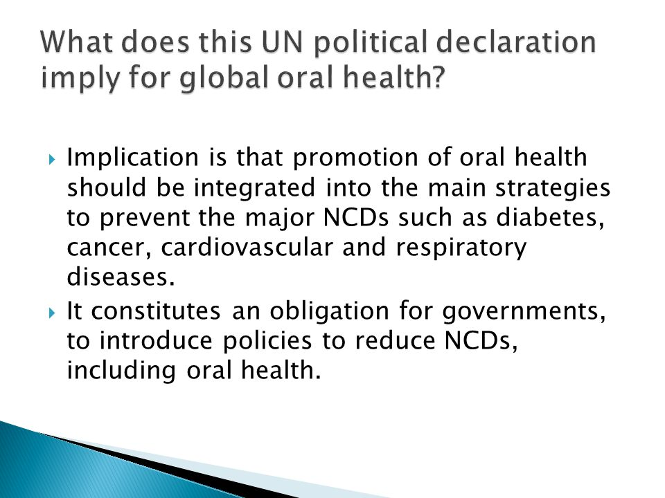What does this UN political declaration imply for global oral health