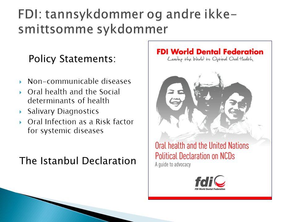FDI: tannsykdommer og andre ikke-smittsomme sykdommer
