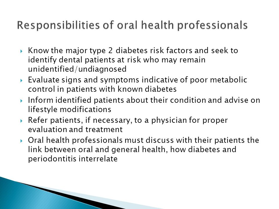 Responsibilities of oral health professionals