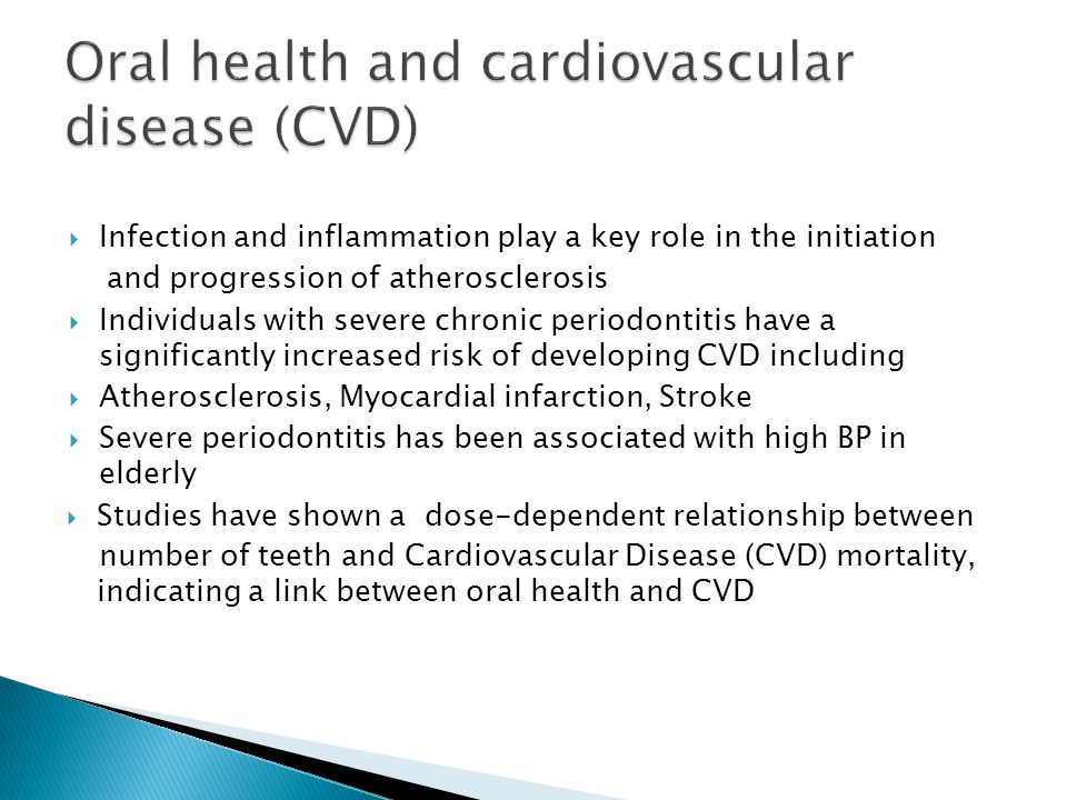 Oral health and cardiovascular disease (CVD)
