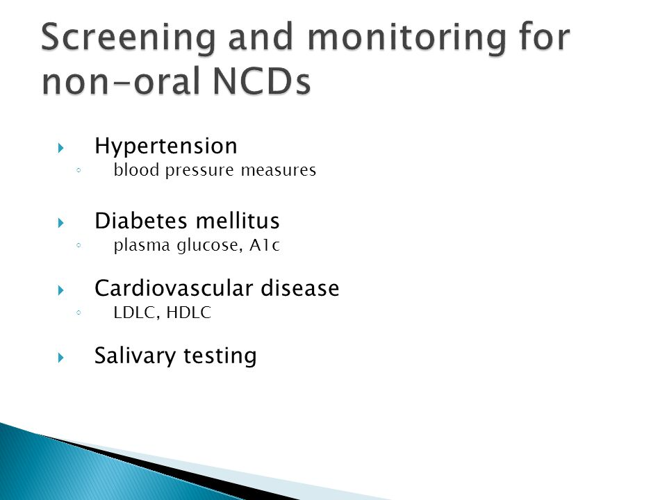 Screening and monitoring for non-oral NCDs