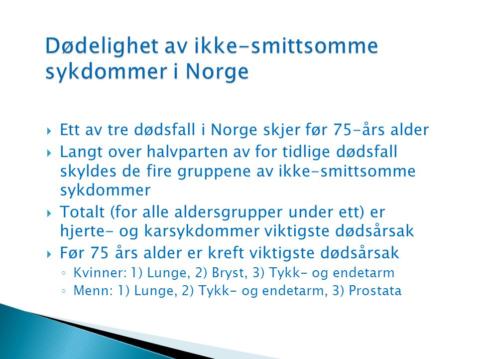 Dødelighet av ikke-smittsomme sykdommer i Norge