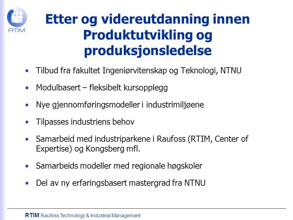 Etter og videreutdanning innen Produktutvikling og produksjonsledelse