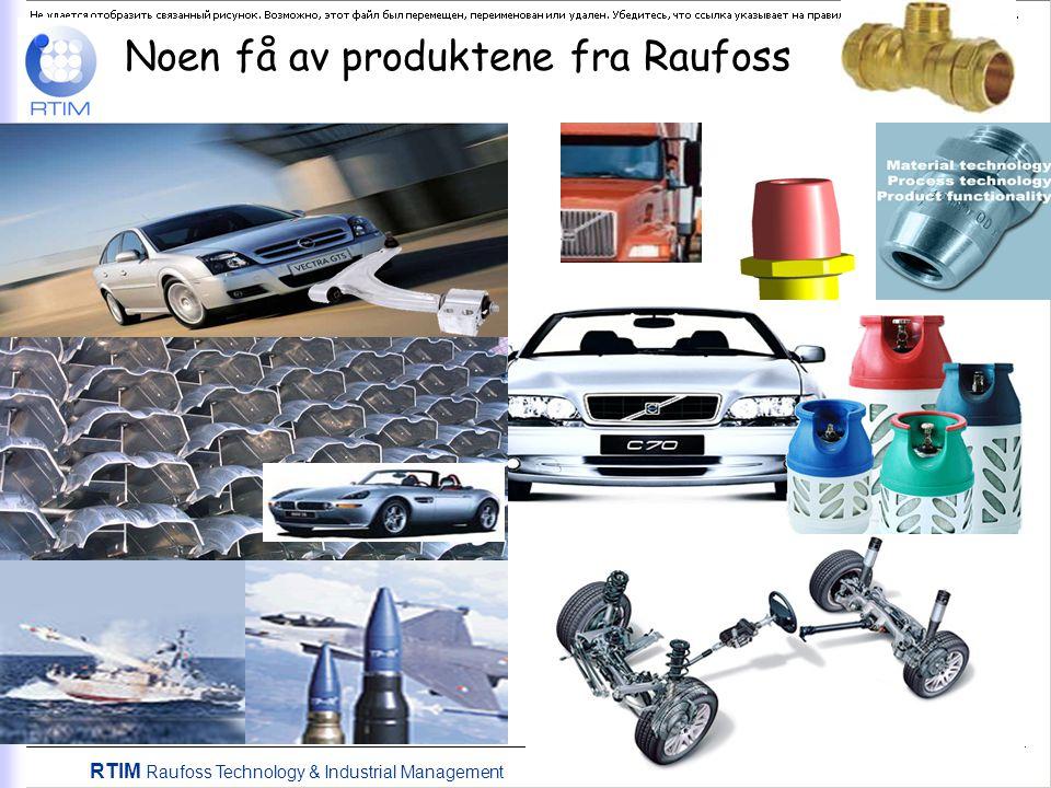 Noen få av produktene fra Raufoss