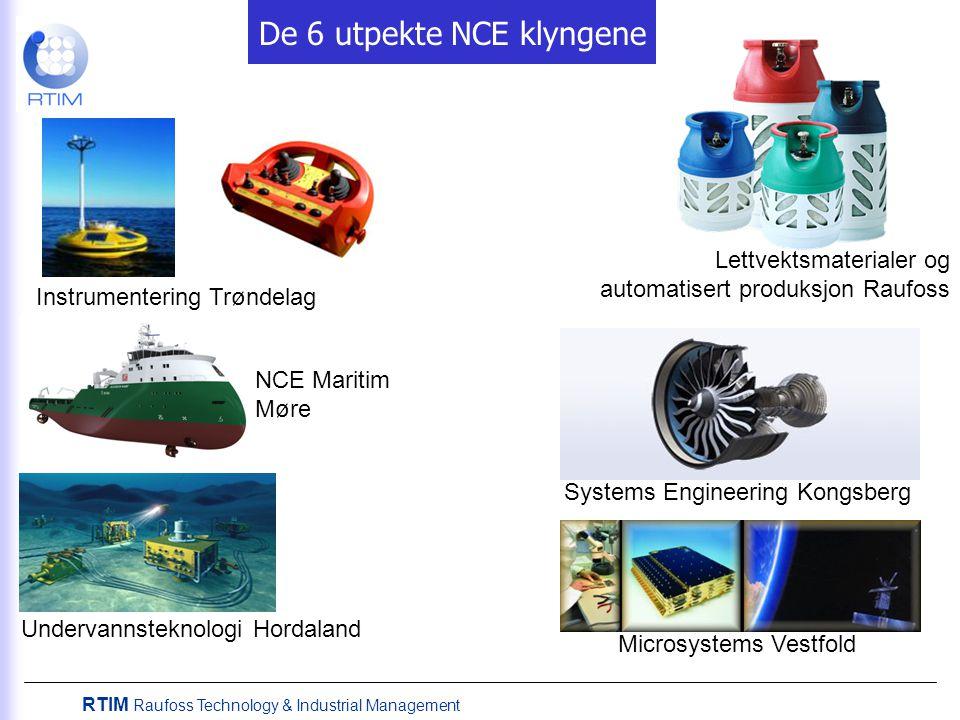 De 6 utpekte NCE klyngene