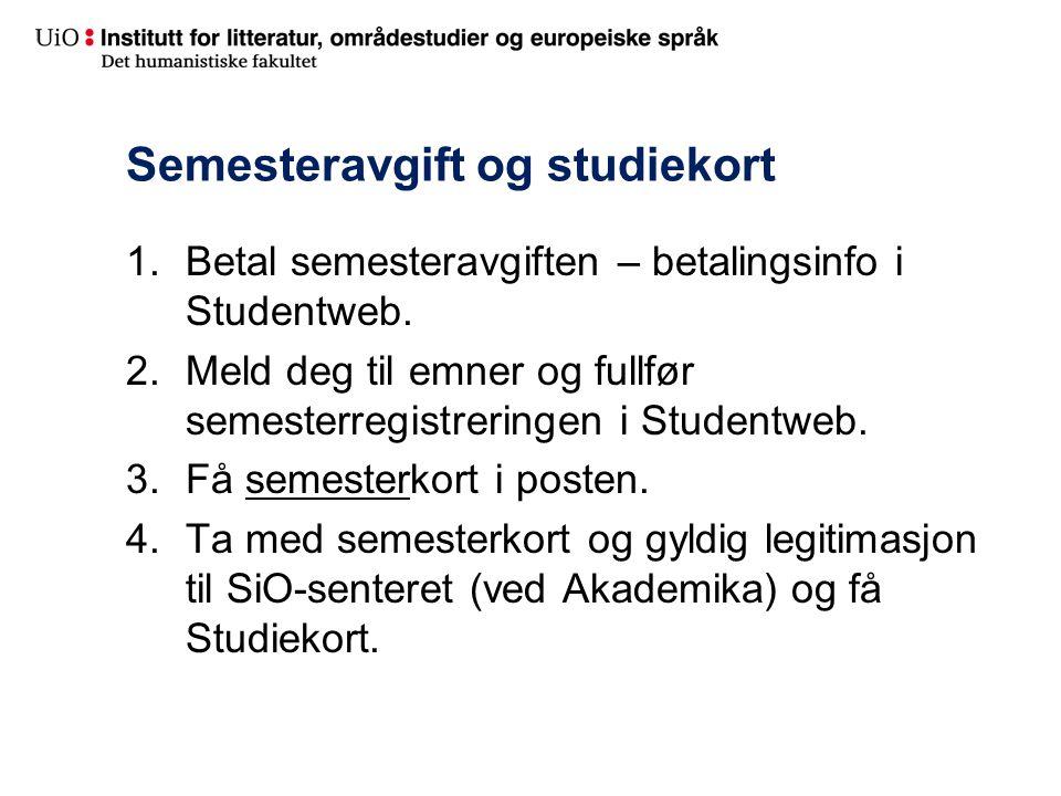 Semesteravgift og studiekort