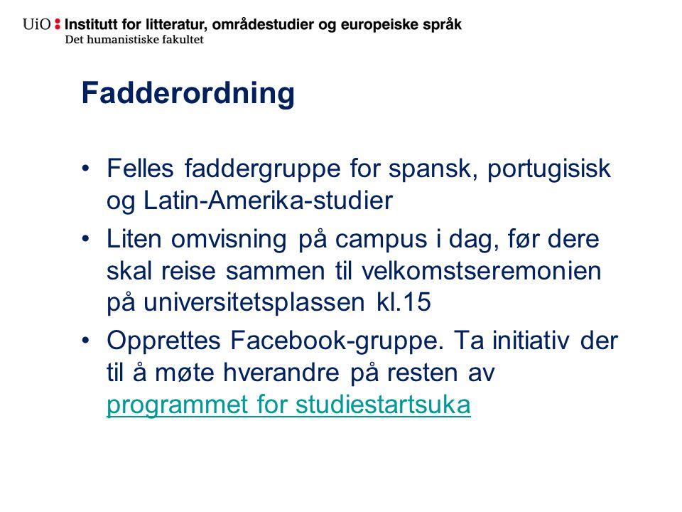 Fadderordning Felles faddergruppe for spansk, portugisisk og Latin-Amerika-studier.