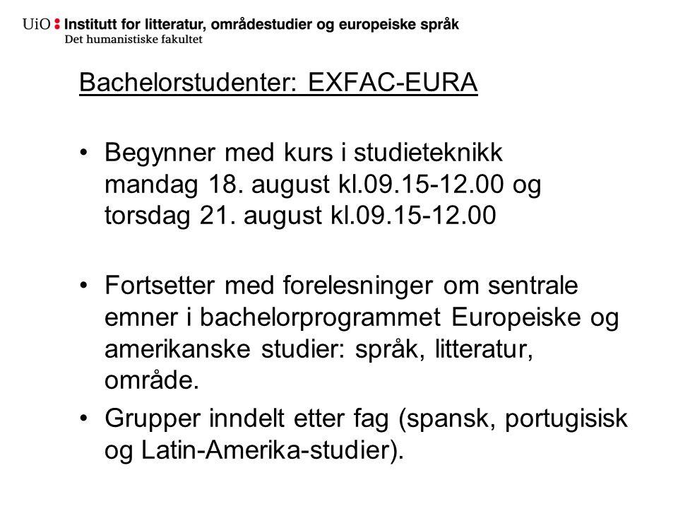 Bachelorstudenter: EXFAC-EURA