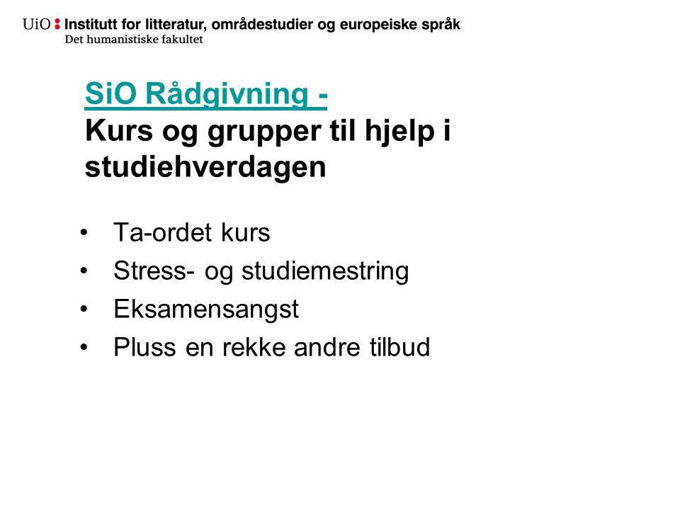 SiO Rådgivning - Kurs og grupper til hjelp i studiehverdagen