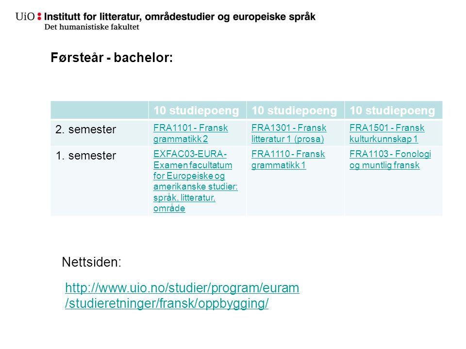 Førsteår - bachelor: Nettsiden: