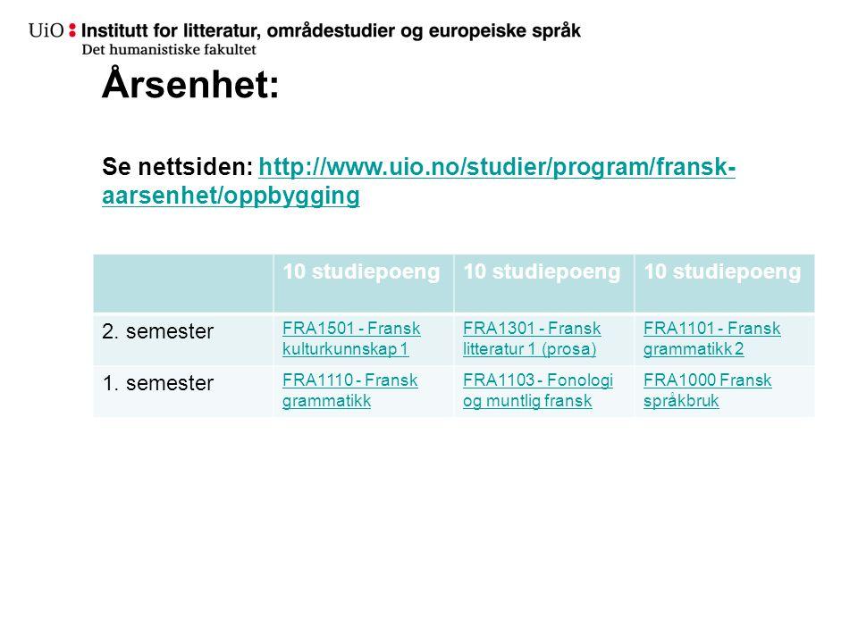 Årsenhet: Se nettsiden: http://www. uio