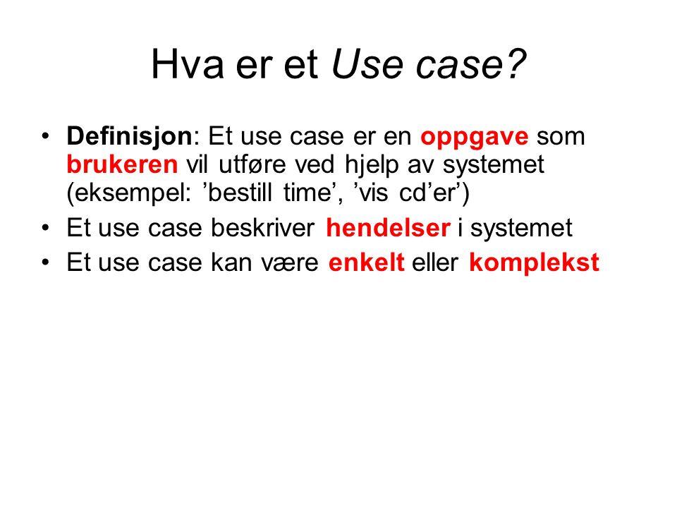 Hva er et Use case Definisjon: Et use case er en oppgave som brukeren vil utføre ved hjelp av systemet (eksempel: 'bestill time', 'vis cd'er')