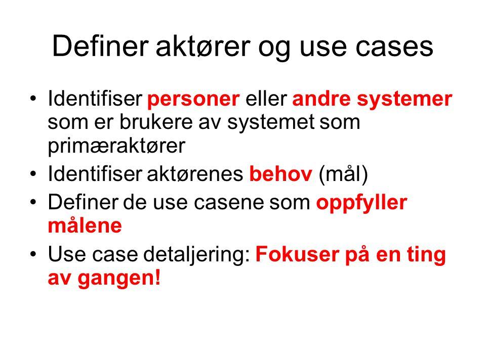 Definer aktører og use cases