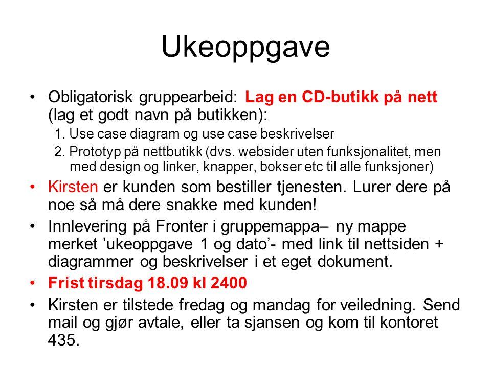 Ukeoppgave Obligatorisk gruppearbeid: Lag en CD-butikk på nett (lag et godt navn på butikken): 1. Use case diagram og use case beskrivelser.