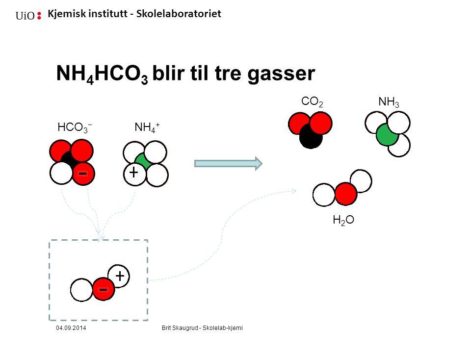 NH4HCO3 blir til tre gasser