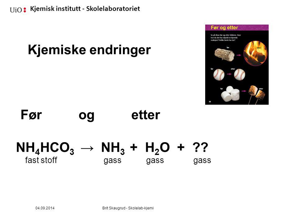 Kjemiske endringer Før og etter NH4HCO3 → NH3 + H2O +